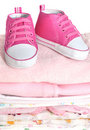 Pink Baby Booties Stock Images