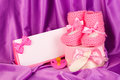 Pink baby boots Stock Photos