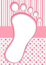 Pink baby foot frame with polka dots and stripes girl footprint card border shower invitation card Stock Image