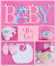 Pink Baby Girl Collage Royalty Free Stock Photo
