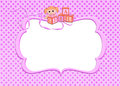 Pink baby girl frame toy blocks and doll with ribbon on a Royalty Free Stock Images
