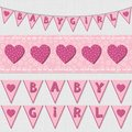 Pink baby girl shower birthday flags and ribbon bunting set Royalty Free Stock Photo