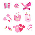 Pink Baby Icons Stock Images