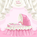 Pink baby shower card with cute little baby in the lace crib Royalty Free Stock Image