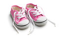 Pink baby sneakers Stock Photo