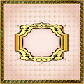 Of a pink background framed with pearls and gold ornamentation illustration Stock Image