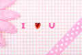 Pink background i love you Stock Photo