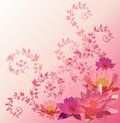 Pink background with lily and lotus flowers Royalty Free Stock Photography