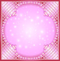 Of a pink background with pearls and netting Royalty Free Stock Photo