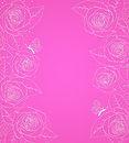 Pink background with roses decorative Stock Photography