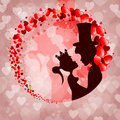 Pink background,silhouette Prince and Princess