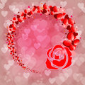 Pink background with silhouette of rose