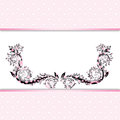 Pink background template invitation or greeting card with lace fabric Stock Images