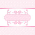 Pink background template invitation or greeting card with lace fabric Royalty Free Stock Image