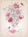 Pink background with valentine heart and spring fl flowers vector illustration Royalty Free Stock Photography