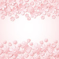 Pink background with valentine hearts and flowers place for wishes text vector illustration Royalty Free Stock Image