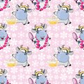 Background with Cute Cows for you Design. Seamless Pattern
