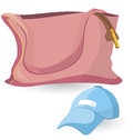 Pink bag and blue hat Royalty Free Stock Photo