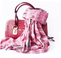 Pink bag made ​​of leather and checkered scarf genuine Royalty Free Stock Photography
