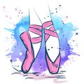 Pink ballet shoes illustration made in outline style on a watercolor background Royalty Free Stock Photo