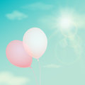 Pink balloon on the background sky. Vector vintage filter