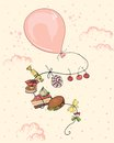 Pink balloon with food Royalty Free Stock Photo