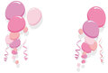 Pink balloons border frame illustration for girl birthday cards and party card Royalty Free Stock Images