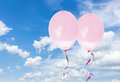 Pink baloons in the sky Royalty Free Stock Photo
