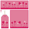 Pink banner card and tag set Royalty Free Stock Images