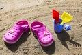 Pink Beach Crocs And Blue Sand...