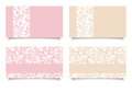 Pink and beige business cards with floral patterns. Vector EPS-10. Royalty Free Stock Photo