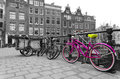 Pink bicycle bridge amsterdam Stock Photography