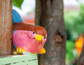 Pink bird doll closeup cute Royalty Free Stock Photo