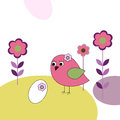 Pink bird with eggs and flowers Royalty Free Stock Image