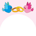 Pink Bird Engagement Rings Stock Photos