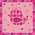 Pink bird greeting card Royalty Free Stock Photo