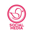 Pink bird social media on white background Stock Photos