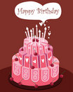 Pink Birthday cake Royalty Free Stock Photo