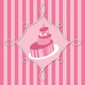 Pink birthday cake vector illustration of happy greeting message card Royalty Free Stock Photos
