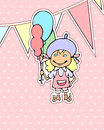 Pink birthday card cartoon girl holding balloons Royalty Free Stock Photography