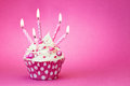 Pink birthday cupcake decorated with candles Royalty Free Stock Photography