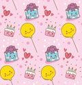 Pink birthday kawaii background