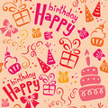 Pink birthday pattern Stock Image