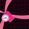 Pink birthday ribbon Stock Photos
