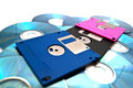 Pink, black and blue diskettes on white Royalty Free Stock Images