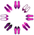 Pink and black retro shoes in circle. Stock Photography