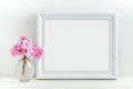Pink blossom styled stock photography with white frame for your own business message promotion headline or design great for Royalty Free Stock Photo