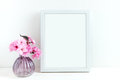 Pink blossom styled stock photography with white frame for your own business message promotion headline or design great for Royalty Free Stock Image