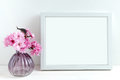 Pink blossom styled stock photography with white frame for your own business message promotion headline or design great for Royalty Free Stock Images
