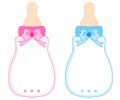 Pink and Blue Baby Bottles Royalty Free Stock Photo